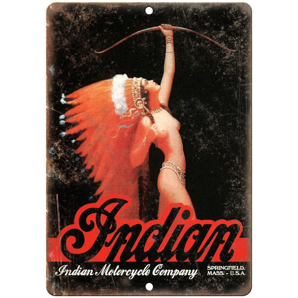 "Indian Motorcycle Company Vintage Girl Ad 10"" x 7"" Reproduction Metal Sign F01"