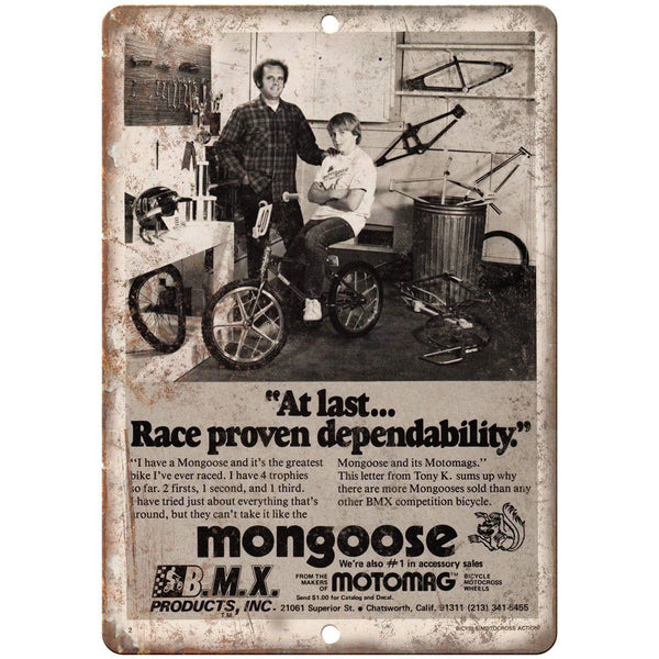 "Mongoose BMX Motomag Bicycle Vintage Ad 10"" x 7"" Reproduction Metal Sign B460"
