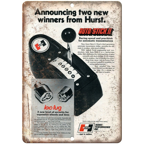 "Hurst Performance - Auto Stick 2 Shifter - 10"" x 7"" Reproduction Metal Sign"