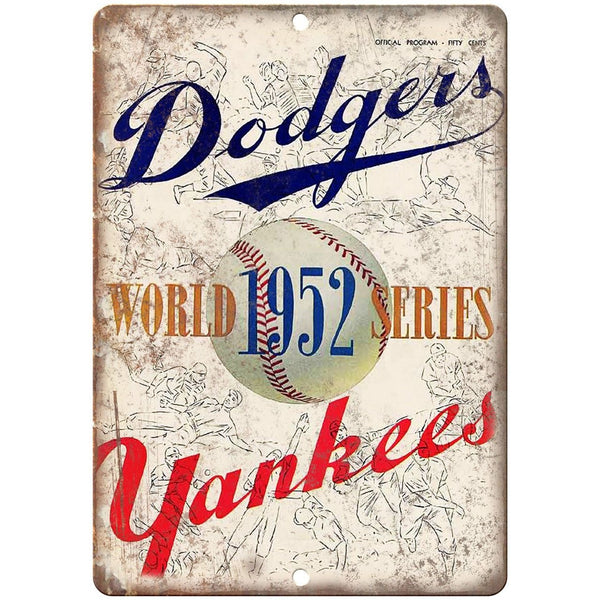 "Dodgers vs Yankees 1952 World Series Program 10""x7"" Reproduction Metal Sign X08"