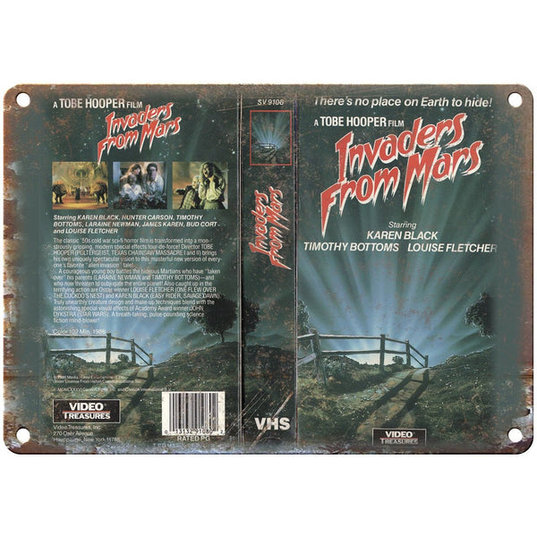 "Invaders From Mars VHS Box Art Tobe Hooper 10"" X 7"" Reproduction Metal Sign V11"