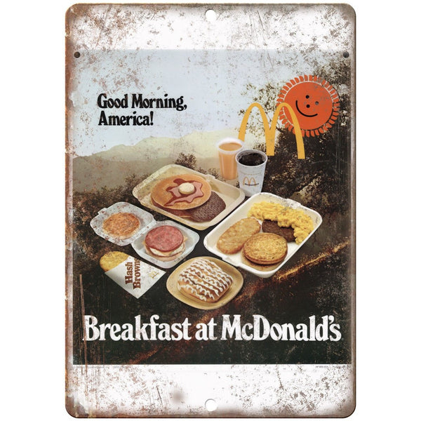 "1970s McDonald's Breakfast Vintage Ad 10"" X 7"" Reproduction Metal Sign N229"