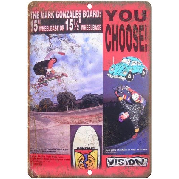 "Vision Skateboards Mark Gonzales Retro Ad 10"" x 7"" Reproduction Metal Sign"