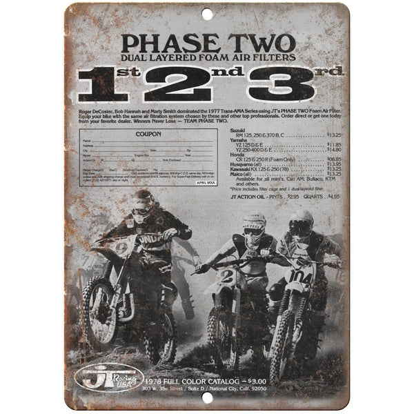 "JT Racing USA Motorcycle 10"" x 7"" Reproduction Metal Sign A458"