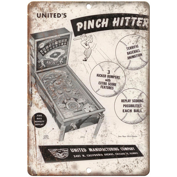 "United's Pinch Hitter Pinball Machine Ad 10"" x 7"" Reproduction Metal Sign G136"