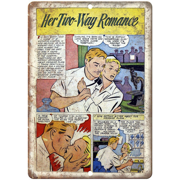 "Ace Comics Her Two Way Romance Comic Strip 10"" X 7"" Reproduction Metal Sign J385"