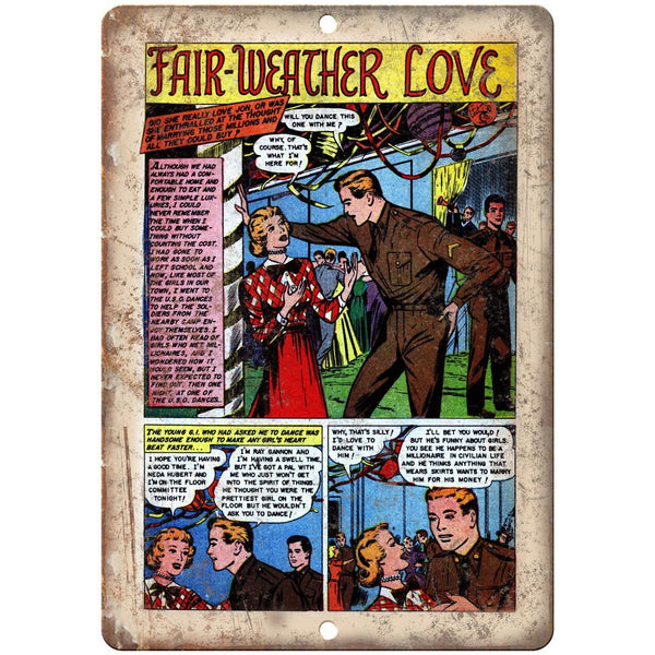 "Fair Weather Love Vinteg Comic Strip Art 10"" X 7"" Reproduction Metal Sign J338"