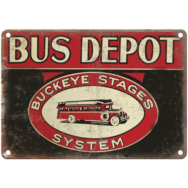 "Porcelain Look Buckeye Stages Bus Depot 10"" x 7"" Reproduction Metal Sign"