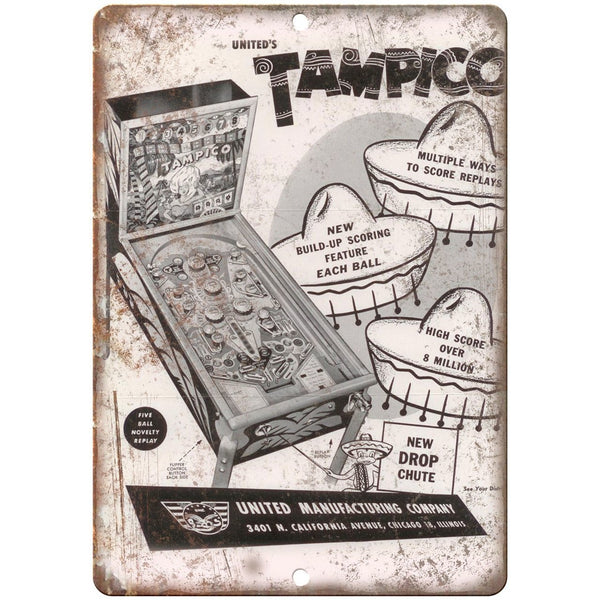 "United's Tampico Vintage Pinball Machine Ad 10""x7"" Reproduction Metal Sign G150"