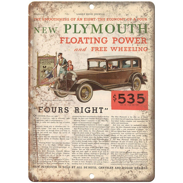 "RARE Plymouth Ladies Home Journal Vintage Car Ad 10"" x 7"" Retro Metal Sign"