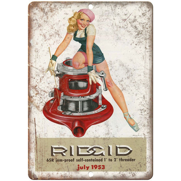 "1953 Ridgid Self-Contained Pipe Threader Tools - 10"" x 7"" Retro Look Metal Sign"
