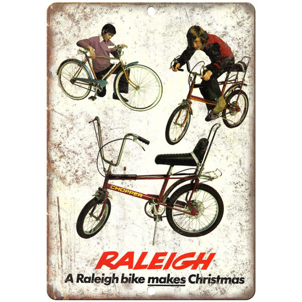 "Raleigh Chopper Bicycle BMX Christmas Ad 10"" x 7"" Reproduction Metal Sign B496"