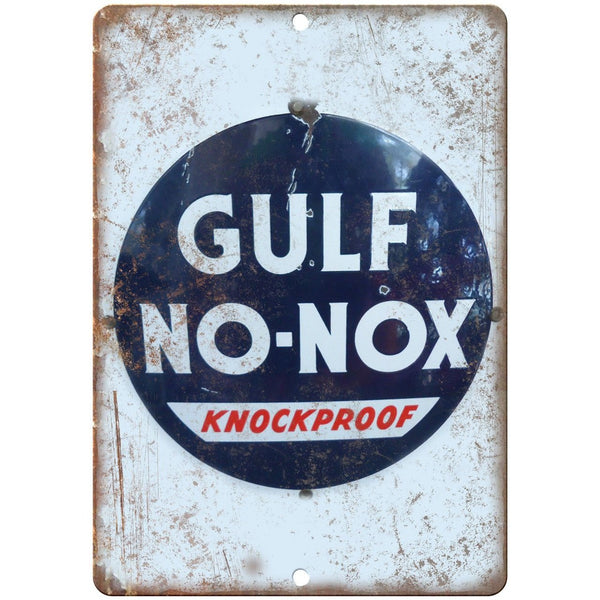 "Gulf No-Nox Gas Porcelain Look 10"" X 7"" Reproduction Metal Sign U104"