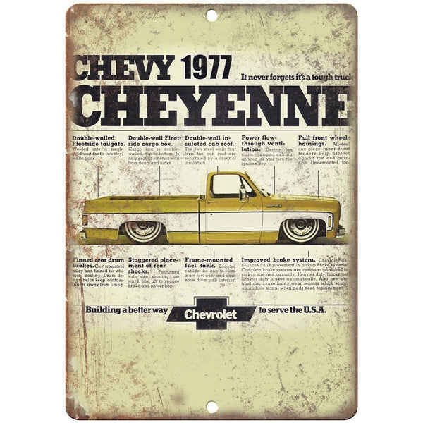 "1977 Chevy Cheyenne Vintage Print Ad 10"" x 7"" Reproduction Metal Sign"