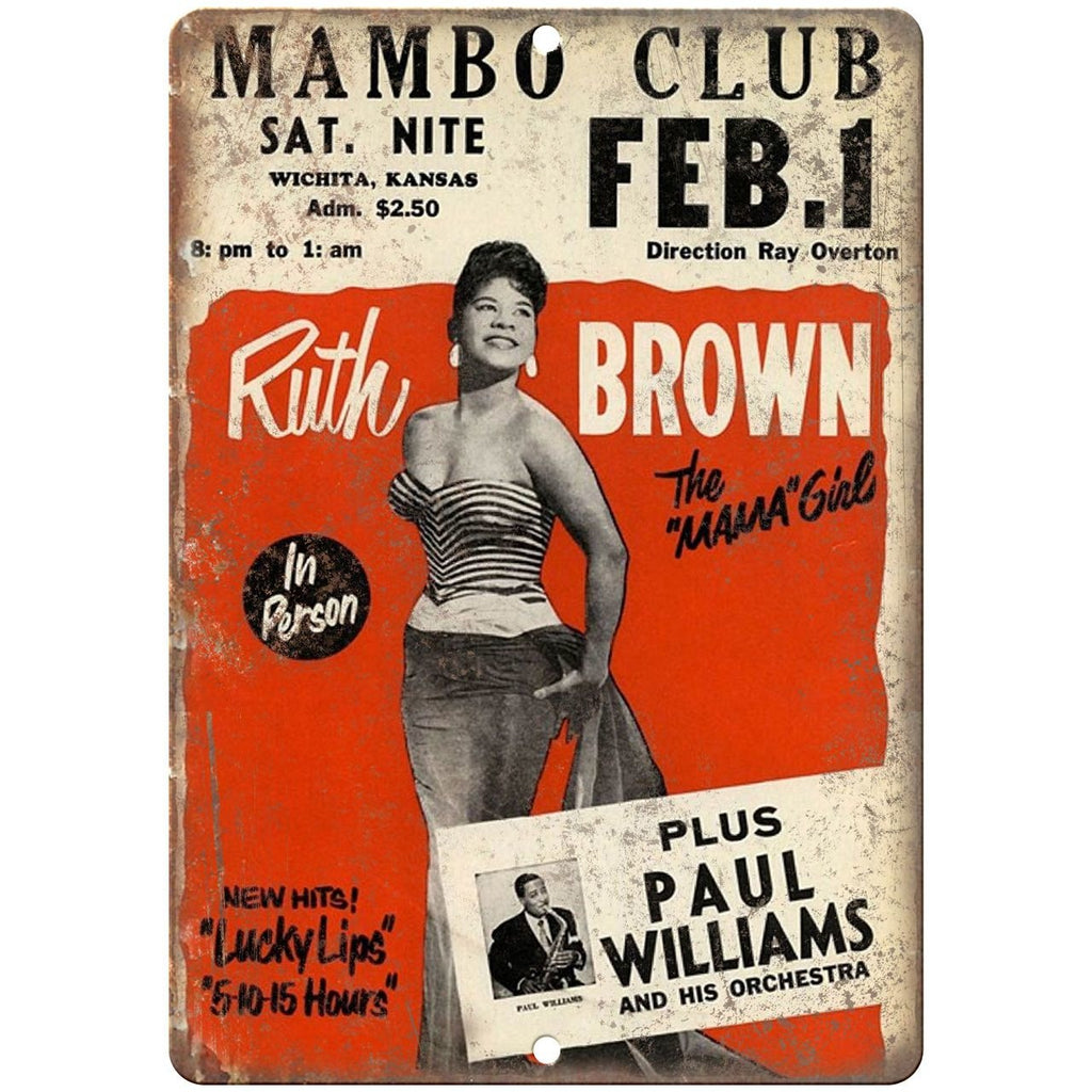 "Ruth Brown Mambo Club vintage concert flyer 10"" x 7"" retro metal sign"