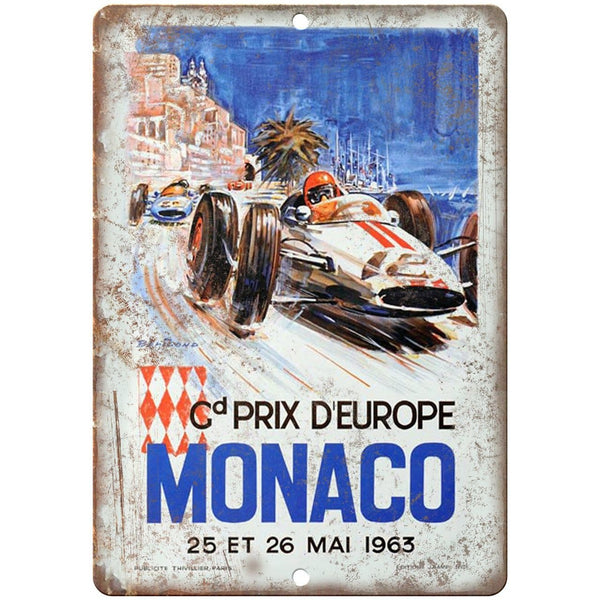 "1963 Monaco Prix D'Europe Poster 10"" X 7"" Reproduction Metal Sign A570"