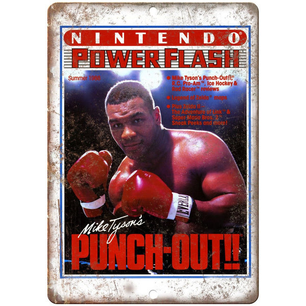 "Nintendo Power Flash Mike Tyson Punch-Out 10"" X 7"" Reproduction Metal Sign G34"