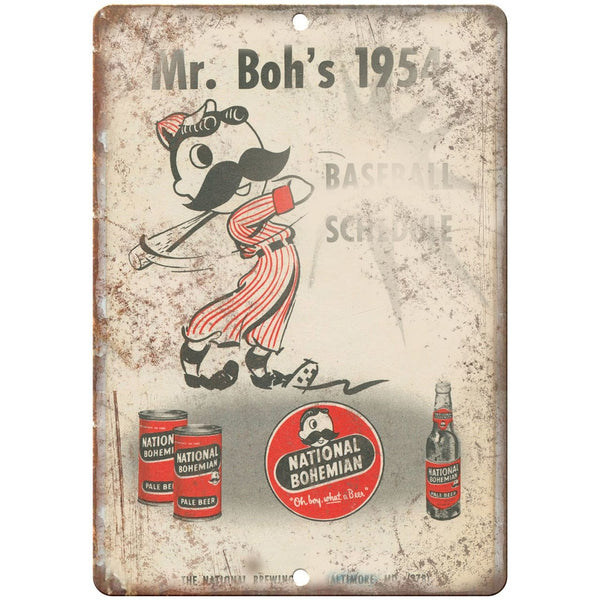 "National Bohemian Beer Mr. Boh's Vintage Ad 10"" x 7"" Retro Look Metal Sign"