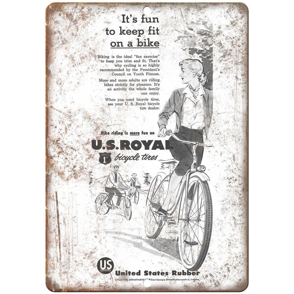 "US Rubber Bicycle Vintage Art Ad 10"" x 7"" Reproduction Metal Sign B445"