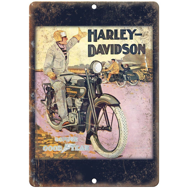 "Vintage Harley Davidson Good Year Tire Ad 10"" X 7"" Reproduction Metal Sign F23"