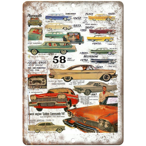 "1958 Plymouth, Suburban, Belvedere, Golden Commando 10"" x 7"" Retro Metal Sign"