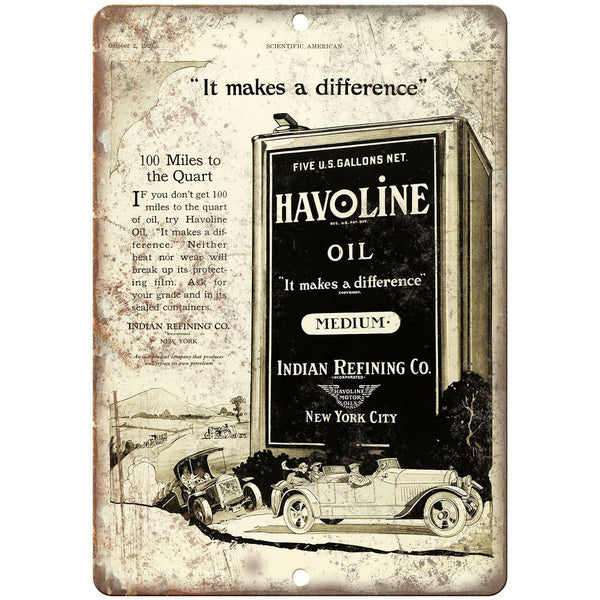 "Havoline Oil Medium Indian Refining Co Ad 10"" X 7"" Reproduction Metal Sign A767"