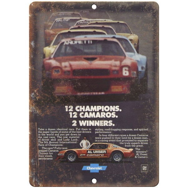 "Chevy Camaro Advertisment Race Car NASCAR 10"" x 7"" Reproduction Metal Sign"
