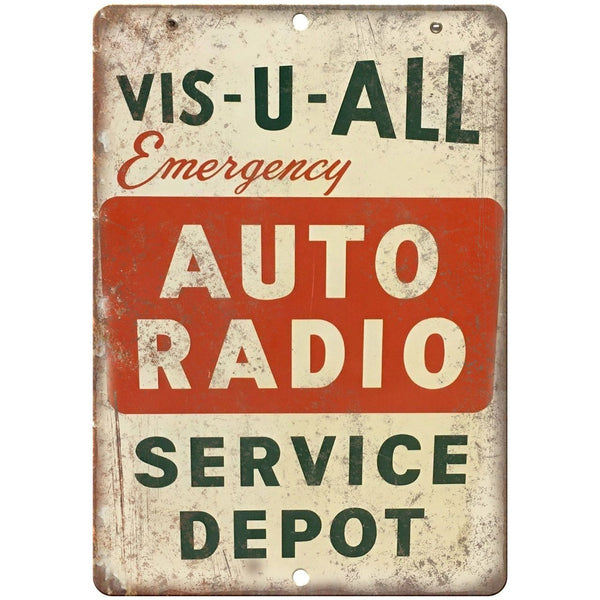 "Porcelain Look Emergency Auto Radio Service Depot 10"" x 7"" Retro Look Metal Sign"