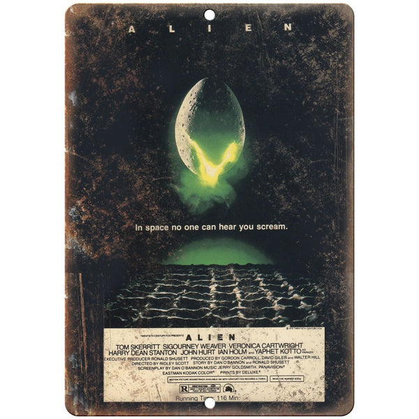 "ALIEN Movie VHS Cover Sigourney Weaver 10"" x 7"" Vintage Look Reproduction"
