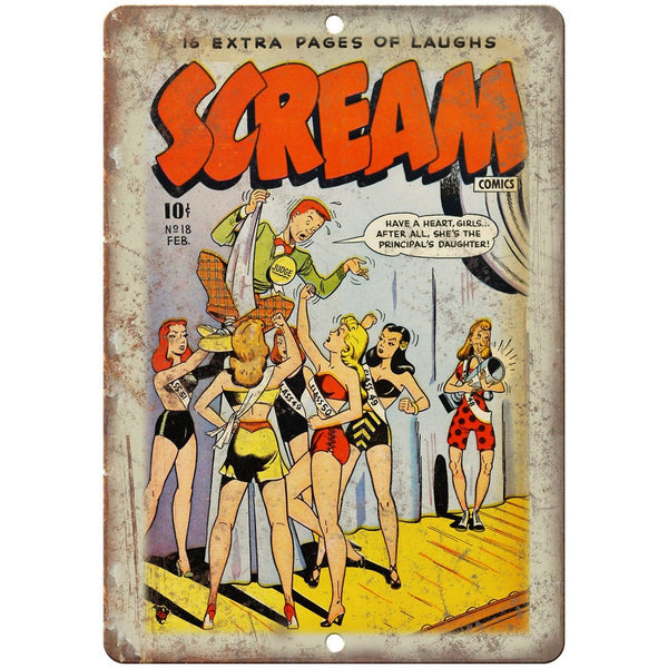 "Scream Ace Comics Vintage Cover 10"" X 7"" Reproduction Metal Sign J471"