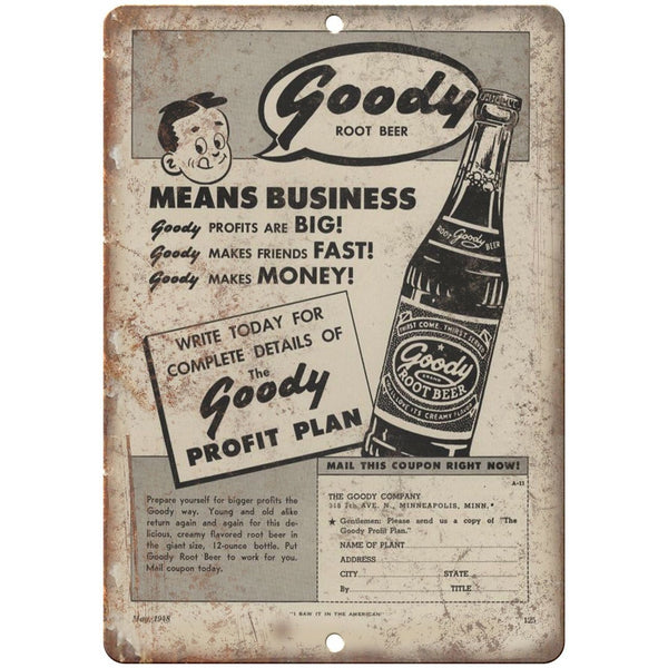 "Goody Root Beer Vintage Sales Flyer Ad 10"" x 7"" Reproduction Metal Sign N09"
