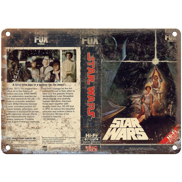 "1977 Star Wars Movie Video VHS Cover RARE 10"" x 7"" Reproduction Metal Sign"