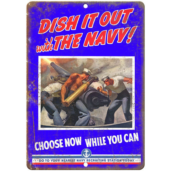 "Navy Recruiting Poster Military Art 10"" x 7"" Reproduction Metal Sign M157"