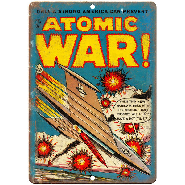 "Atomic War Ace Comic Book Vintage Cover 10"" x 7"" Reproduction Metal Sign J522"