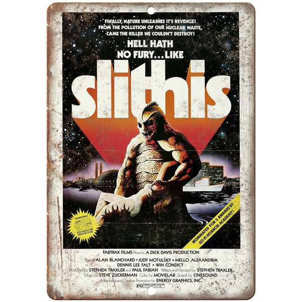 "Slithis Fabtrax Films Movie Poster 10"" x 7"" Reproduction Metal Sign"