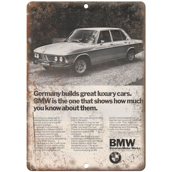 "BMW Bavarian Motor Works Germany vintage Ad 10""x7"" Reproduction Metal Sign A112"