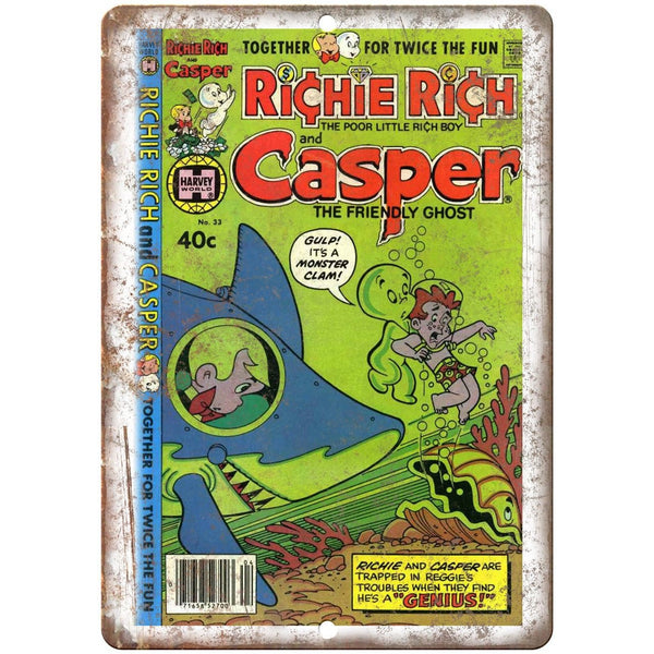 "Richie Rich Casper Vintage Comic Art 10"" X 7"" Reproduction Metal Sign J188"