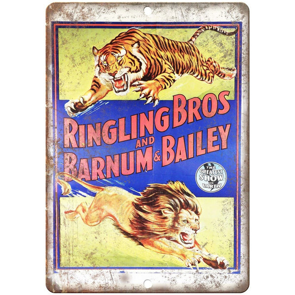 "Ringling Bros Greatest Show on Earth 10"" X 7"" Reproduction Metal Sign ZH38"