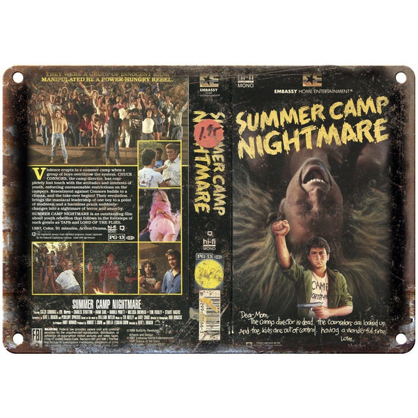 "Embassy Home Ent Summer Camp Nightmare VHS 10"" X 7"" Reproduction Metal Sign V10"