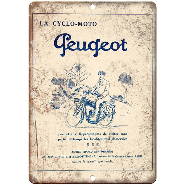 "La Cyclo Moto Peugeot Vintage Bicycle Ad 10"" x 7"" Reproduction Metal Sign B366"