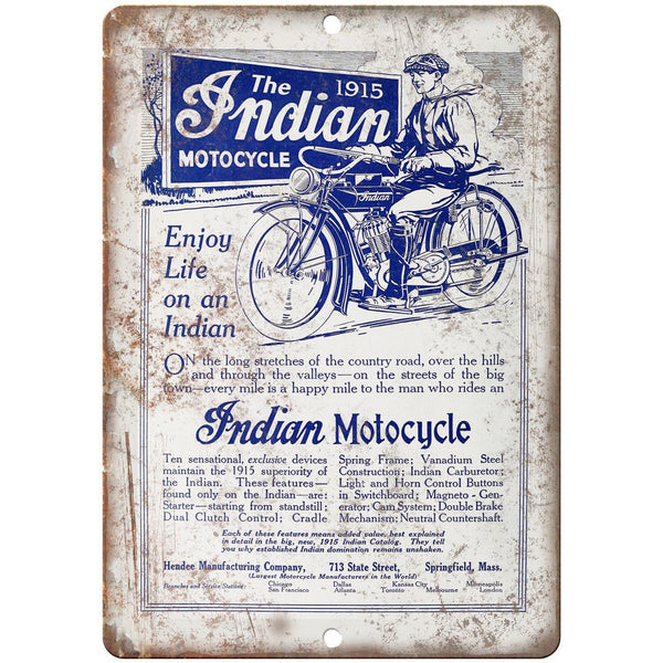 "1915 Indian Motorcycle Dual Clutch Vintage Ad 10""X7"" Reproduction Metal Sign F30"