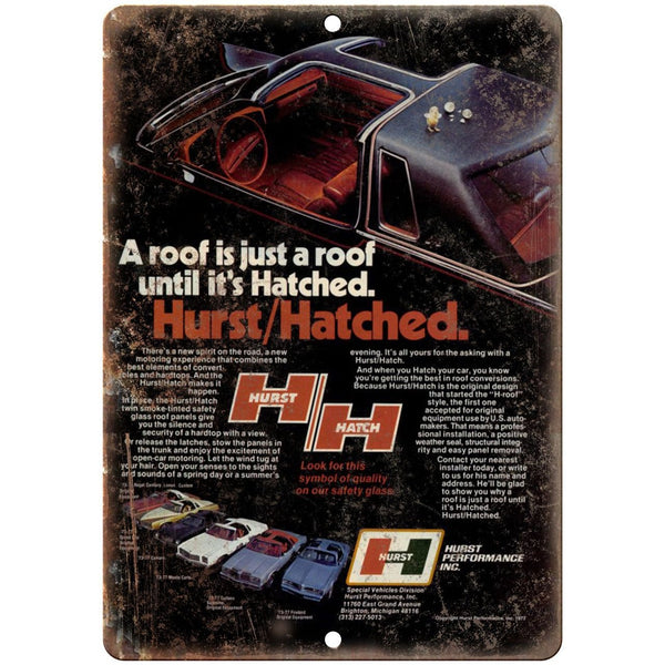 "Hurst Performance - Hatched T-Top Car Roof - 10"" x 7"" Reproduction Metal Sign"