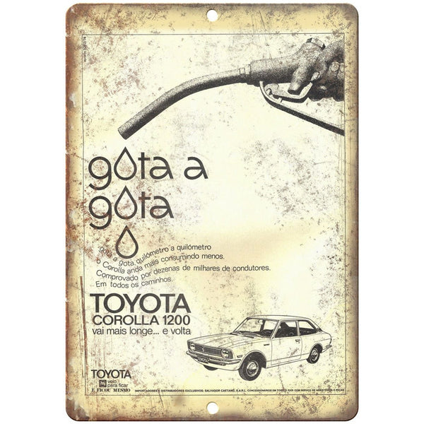 Toyota Corolla 1200 Vintage Ad 10 X 7 Reproduction Metal Sign A405