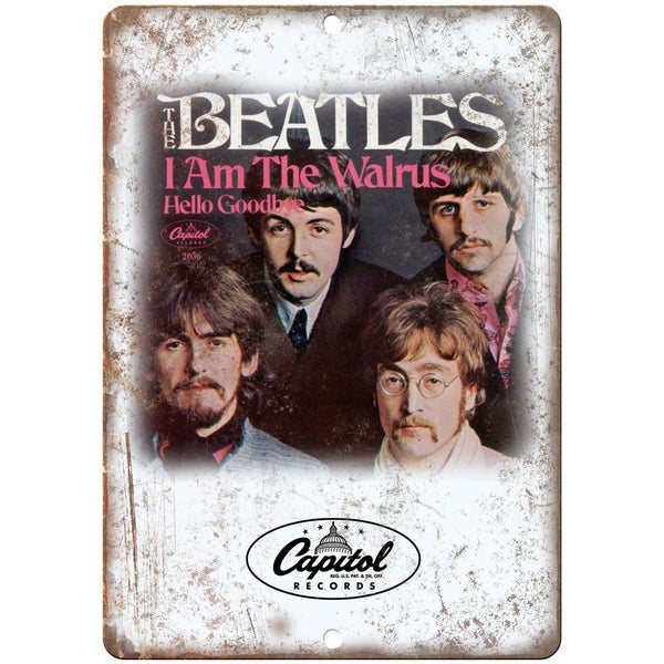 "The Beatles I am Walrus Album Cover Capitol Records 10""x7"" Retro Metal Sign K19"
