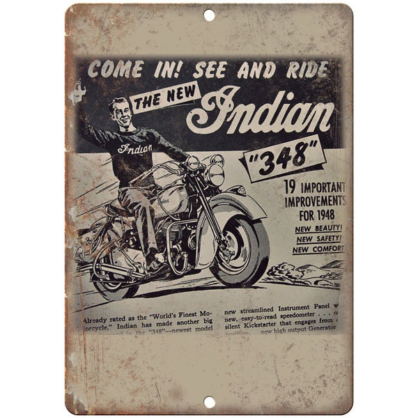 "1948 Indian Motorcycle Flyer Ad Man Cave 10"" X 7"" Reproduction Metal Sign F32"