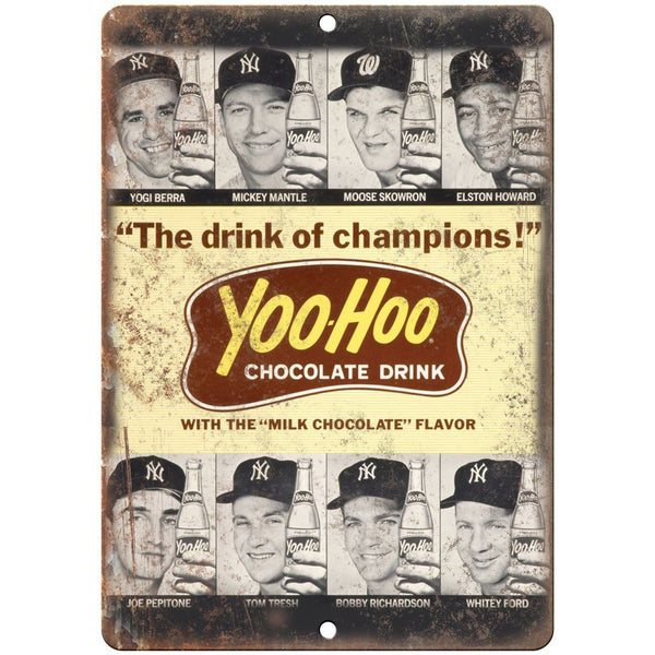 "Yankees Yoo-Hoo Chocolate Drink Baseball Ad 10"" x 7"" Reproduction Metal Sign X07"