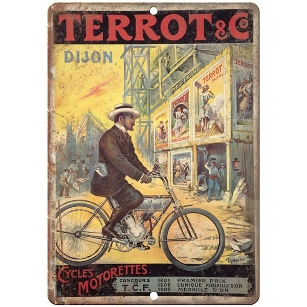 "Terrot & Co. Cycles Motorettes Bicycle Ad 10"" x 7"" Reproduction Metal Sign B266"