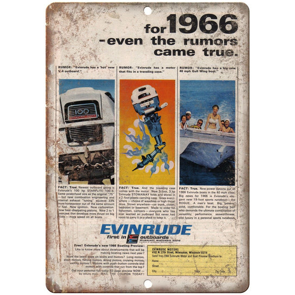 "Evinrude Outboard Motor 1966 Vintage Boating Ad 10"" x 7"" Reproduction Metal Sign"