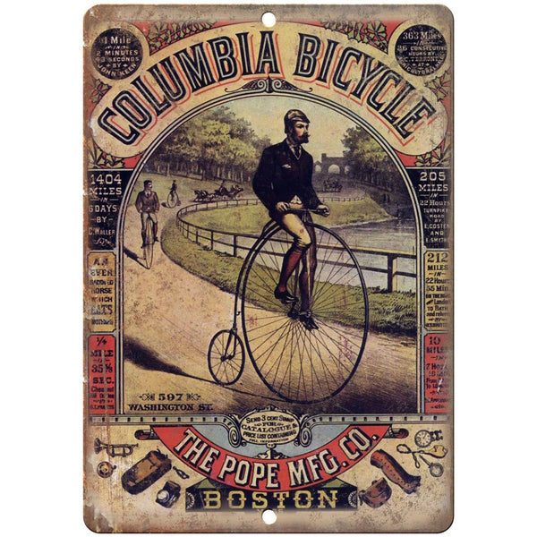 "Columbia Bicycle Pope Mfg. Boston Vintage Ad 10""x7"" Reproduction Metal Sign B223"