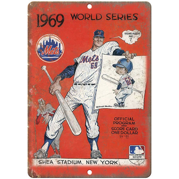 "1969 Mets World Series Shea Stadium Program 10"" x 7"" Reproduction Metal Sign X15"